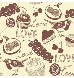 Cupcakes Confectionery Pattern vector image