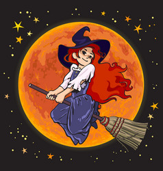 Cute cartoon young witch flying on broom stick on vector