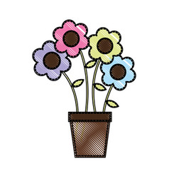 cute flower in pot drawing decorative vector image