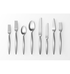 cutlery set silver forks spoons and knifes vector image