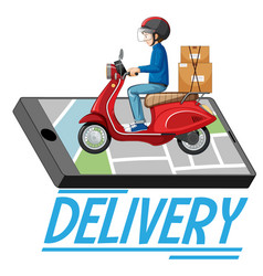 Delivery logo with bike man or courier vector