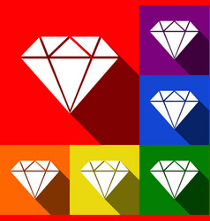 diamond sign set of icons vector image