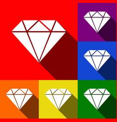 diamond sign set of icons vector image