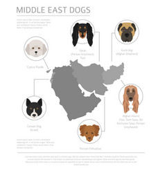 Dogs country origin near east dog breeds vector