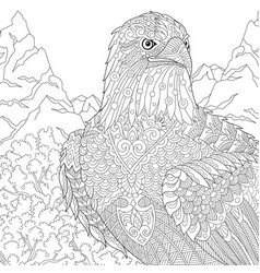 Eagle adult coloring page vector