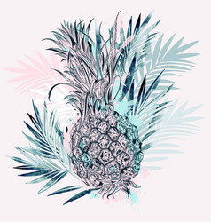 fashion tropical with pineapple vector image