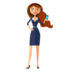 Female call centre operator with headset isolated vector