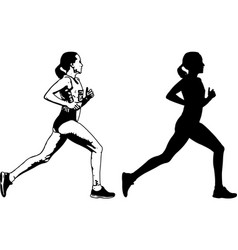 Female runner sketch and silhouette vector
