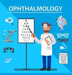 Flat banner ophtalmology vision testing methods vector