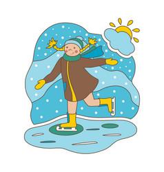 flat girl on skates vector image