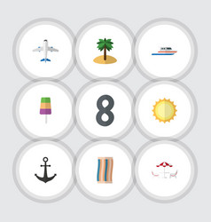 Flat icon summer set of boat coconut aircraft vector