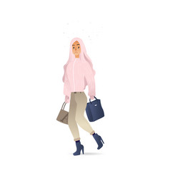 flat sketch woman winter clothing sad vector image
