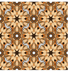 Flowers on beige brown and orange colors flat vector