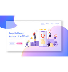 Free delivery around world landing page mobile app vector