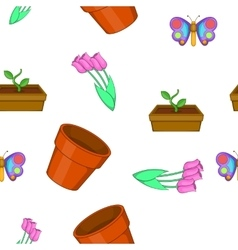 Garden pattern cartoon style vector