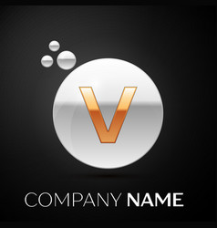 gold letter v logo silver dots splash and bubble vector image