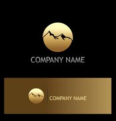 Gold mountain round logo vector