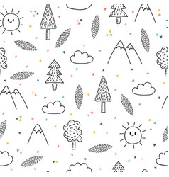 Hand drawn seamless pattern with trees and vector