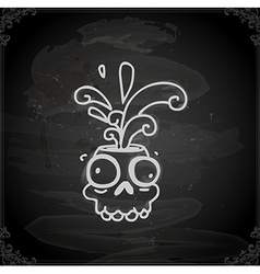 Hand Drawn Skull Cartoon with Paint Splatter vector image