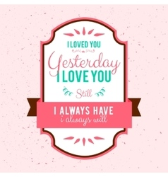 hand-lettered vintage st valentines card - with vector image