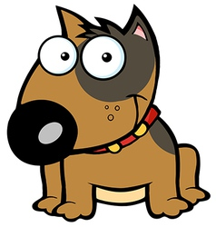 Happy Brown Bull Terrier Sitting vector image