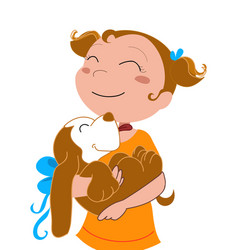 Happy girl with a dog vector