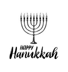 Happy hanukkah hand lettering festive vector