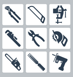isolated tools icons set vector image