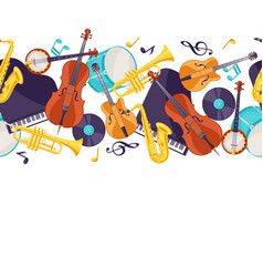 Jazz music seamless pattern with musical vector