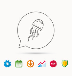 jellyfish icon marine animal sign vector image