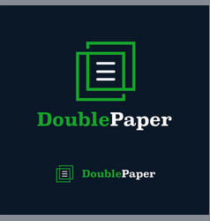 logo design template double paper monogram line vector image