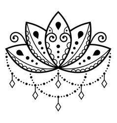 Lotus flower design mehndi henna tattoo vector