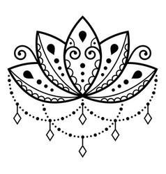 lotus flower design mehndi henna tattoo vector image