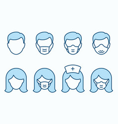 man and woman in medical mask flat line icon set vector image