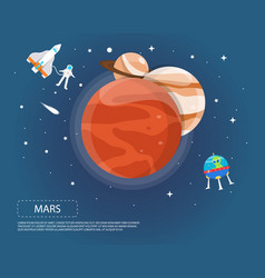 Mars jupiter and saturn of solar system design vector
