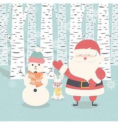 Merry Christmas card Santa Claus snowman rabbit vector