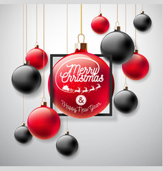 merry christmas with red and black vector image