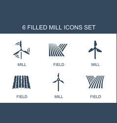 Mill icons vector