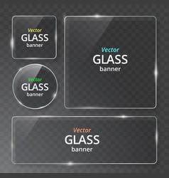 Modern transparent glass plates set on vector