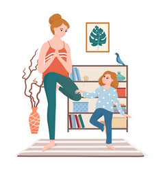 mom and daughter doing yoga in living room vector image