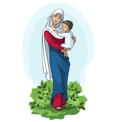 Mother mary and child jesus vector
