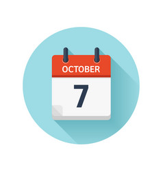 October 7 flat daily calendar icon date vector
