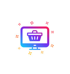 Online shopping cart icon monitor sign vector