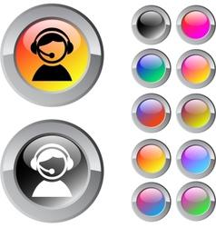 Operator multicolor round button vector