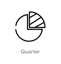 Outline quarter icon isolated black simple line vector