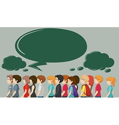 People walking and speech bubbles vector