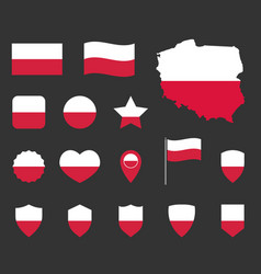 poland flag icons set national flag poland vector image