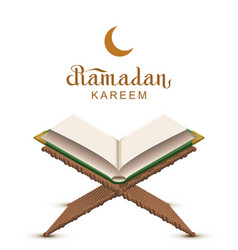 Ramadan kareem text and open book koran vector