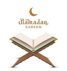 ramadan kareem text and open book koran vector image