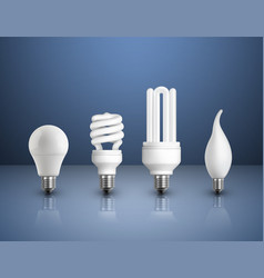 Realistic modern bulbs collection vector
